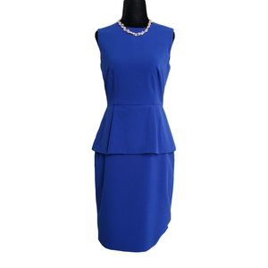 CALVIN KLEIN Royal Blue Sleeveless Peplum Waist 2